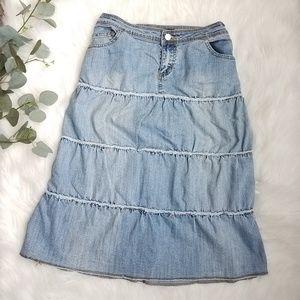 VINTAGE Denim Jean Layered Skirt BOHO